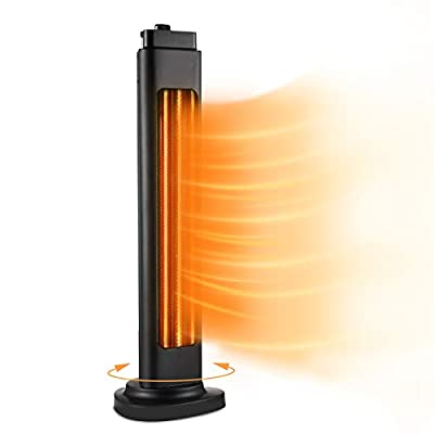 Electric Space Heater for Large Room, 1500W ETL Certified Radiant Heater, 3s Instant Heat, Heat up 400Sq Ft, 90° Oscillation, Tower Heater with Overheat Tip-over Protection for Indoor & Outdoor Use, Waterproof