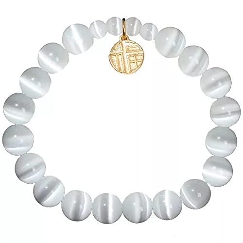 Pulseras versión de moda de pulsera de cristal de ópalo blanco círculo moda dama placer Fu personaje pulsera joyería Pulsera de la amistad regalo de cumpleaños Regalos para mamá, esposa, novia.