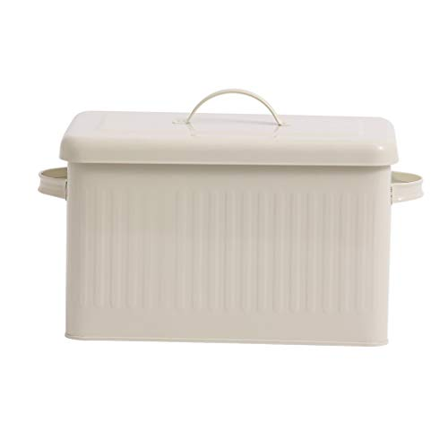 Grande boîte à pain en métal de 8 litres avec couvercle Étui étanche à la poussière crème Blanc Boîte de rangement rétro Cuisine Boîte de rangement pour organisateur de nourriture