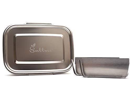 Sattvii® auslaufsichere Eco Lunchbox Brotdose 780 ml mit D-Lock aus Edelstahl I Essensbox mit TÜV Prüfung I Umweltfreundliche Eco Lunch Box Ecobox bpa frei I Jausenbox Frühstücksbox Brotbüchse