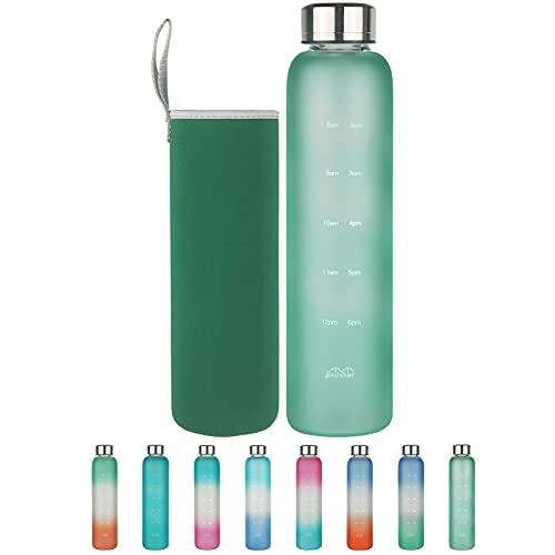 Borraccia in Vetro con Segnatempo - Bottiglia d'Acqua in Vetro Borosilicato senza BPA da 500 ml / 1 l con Tappo a Prova di Perdite e Custodia in Neoprene, Perfetta per Ufficio, Fitness, Viaggi