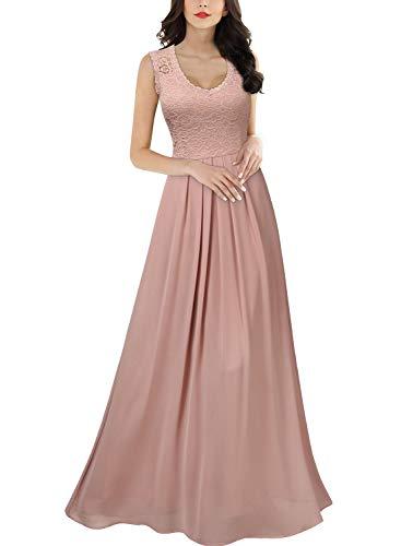 MIUSOL Damen Aermellos V-Ausschnitt Spitzenkleid Brautjungfer Cocktailkleid Chiffon Faltenrock Langes Kleid Rosa S