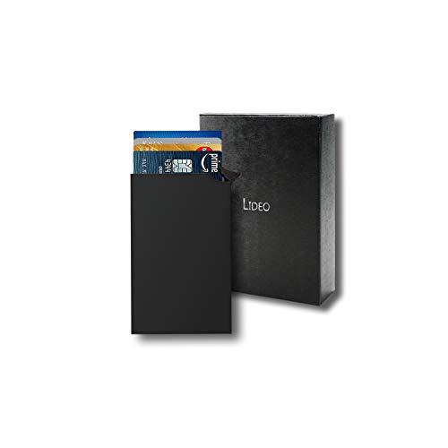 LIDEO - Kreditkartenetui RFID NFC Schutz – Premium Kartenetui aus Aluminium, Kreditkarten Etuis – Visitenkartenetui für bis zu 8 Karten - PopUp Funktion – Kartenetui Herren Damen Schwarz