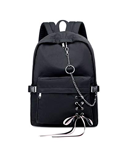 Joymoze Classic Backpack for Women Stylish School Backpack for Teen Girl (Black with Chain)