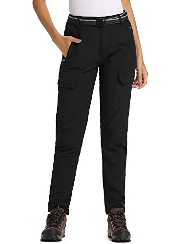 Jessie Kidden Women's Outdoor Fleece Lined Soft Shell Hiking Fishing Ski Snow Pants Insulated Water Wind Resistant (2163 Black, 32)