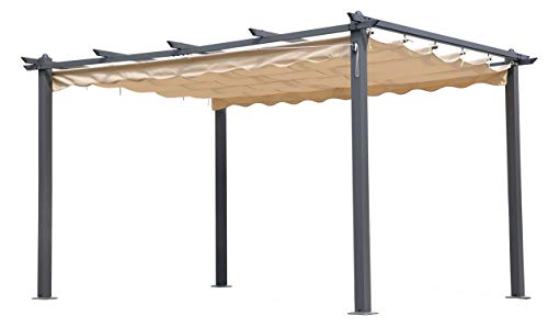 WEBMARKETPOINT - Pergola in alluminocon telo retrattile, 3 x 4 m