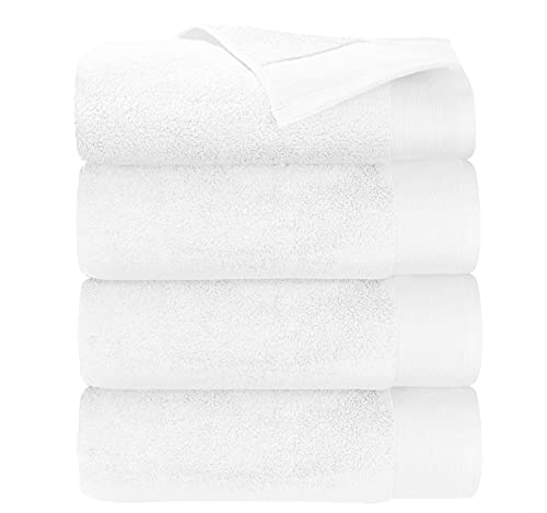 """Luxury 100% Cotton Bath Towels - Pack of 4, Extra Soft & Fluffy, Quick Dry & Highly Absorbent, No Lint, Hotel Quality, Shower Towel Set for Hair & Body, Like a Spa Retreat Everyday, White - 27"""" x 54"""""""
