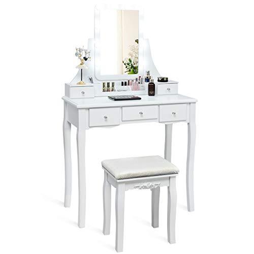 COSTWAY Schminktisch mit Hocker, drehbarem Spiegel und verstellbare LED Beleuchtung, Frisiertisch Set mit abnehmbarem Organizer und 5 Schubladen, Frisierkommode für Schlafzimmer, Garderobe (weiß)