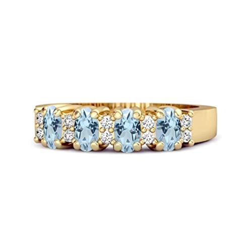 Shine Jewel Multi Elija su Piedra Preciosa Ovalada Genuina 1.00 CTS Anillo de Cuatro Piedras 925 de Plata esterlina Chapado en Oro Amarillo (14, topacio Azul Cielo)