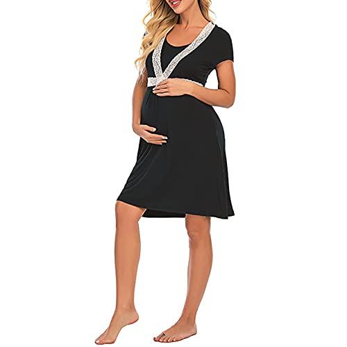 LZJDS Vestido de Maternidad para Mujer Nightgown Nightgown Nighwear para la Lactancia Materna decoración de Encaje de la Manga Corta Camisa de Dormir Ropa de Dormir Suelta Osmwear,Negro,M