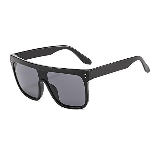 WANGZX Gafas De Sol con Parte Superior Plana para Hombre Gafas De Sol Cuadradas para Mujer Gafas De Sol Retro Uv400 Todo En Uno Geniales para Hombre C1Negro-Negro