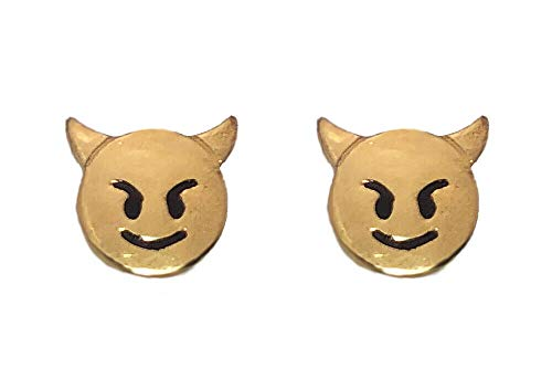 prince of diamonds 24K Gold Plated Stud Earrings Emoji Halloween Devil Bad Smiling Face Horns