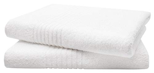 ZOLLNER Juego de 2 Toallas de baño Grandes, 100% algodón, 100x150 cm, Blancas