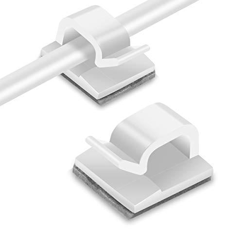 RYCHUI 120 Stück Kabelclips, Kabelhalter mit Starken Selbstklebend Pads, Klebrige Kabelklemme Set Kabelmanagement für Haus Schreibtisch Büro USB Ladekabel, PC, TVKabel und Audiokabel Usw. (Weiß)