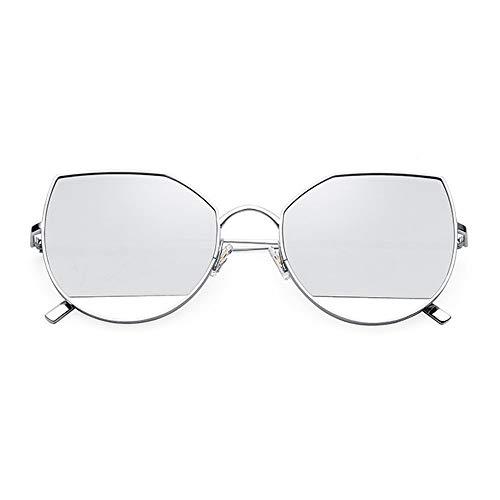 SWNN Sunglasses Gafas De Sol Ultraligeras De Titanio Puro con Forma De Ojo De Gato, for Hombre, for Mujer, con Protección UV400 (Color : Silver)