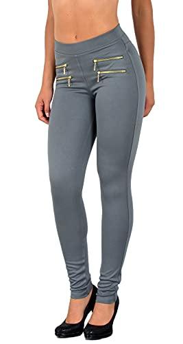 ESRA Damen High Waist Hose Stretch Skinny Damenhose High Waisted Hose bis Übergröße J189