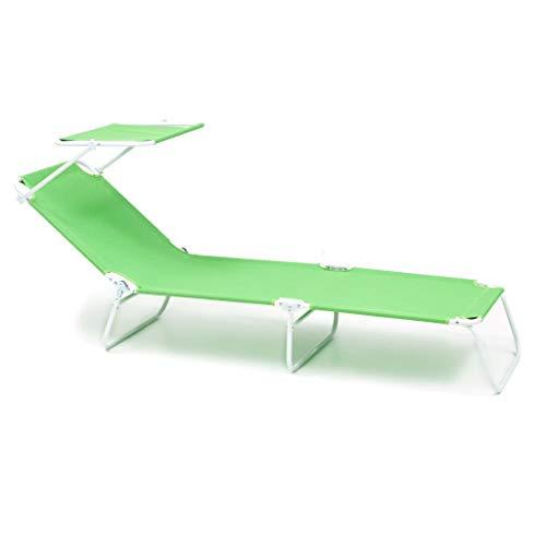 sal mar Brandina Windy con Parasole Pieghevole in Ferro Bianco Telo di Colore Verde