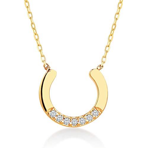 GELIN Goldkette 585 Damen, Hufe Anhänger mit Diamant (0.01 ct.) Halskette 14 Karat GelbGold, Echtgold Schmuck, Kette 45cm