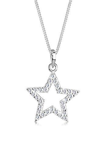 Elli Halskette Damen Stern Anhänger Trend Basic mit Kristalle aus 925 Sterling Silber