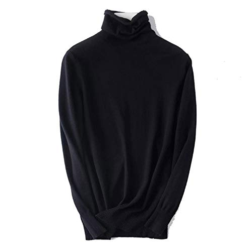 Anges-Store Suave Cachemira Cuello Tortuga Jerséis Mujer Invierno Slim Fit Pull Suéter - negro - Talla Única
