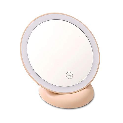 HAJZF Maquillage Voyage Léger Miroir, LED Daylight Compact Portable Miroir Cosmétique avec Batterie Rechargeable, À 360 ° Miroir De Maquillage LED Rechargeable Adsorption Miroir Illuminé,Rose