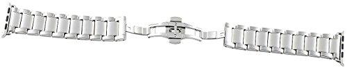 Callstel Applewatch-Armbänder: Glieder-Armband für Apple Watch 42 mm, Edelstahl, silbern (Uhrenarmband)
