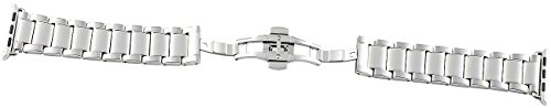 Callstel Uhrenarmbänder: Glieder-Armband für Apple Watch 38 mm, Edelstahl, silbern (Milanaise Armbänder)
