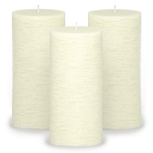 CANDWAX 3x6 Pillar Candles Set of 3 - Decorative Rustic Candles Unscented and No Drip Candles - Ideal as Wedding Candles or Large Candles for Home Interior - Ivory Candles