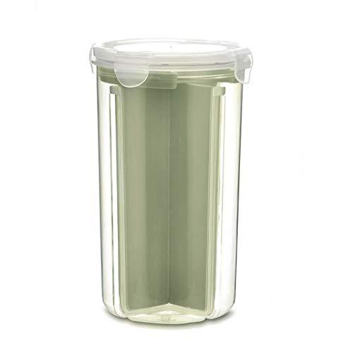 Vorratsdosen Müslibehälter Schüttdose Streudosen Haushaltsdosen 2/4 Abschnitt Partition BPA frei Kunststoff Vorratsdosen luftdicht für Cornflakes, Getreide, Reis, Zucker usw (S, Grün)