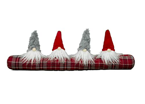 BiancheriaWeb Paraspiffero Salsicciotto Porta Finestra Natalizio Imbottito Gnomi Elfi Natale