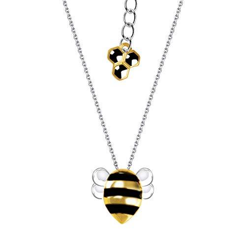 Honey Bees- Collar de abeja de plata de ley S925, collar de abejorro de plata y oro, collar hecho a mano, regalo único para mujeres