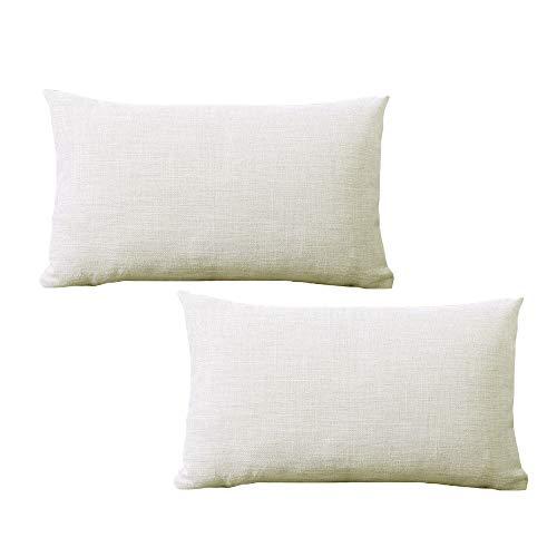 yokamira Funda Almohada de Lino, Juego de 2 Funda de Almohada Decorativa para Sala de Estar Sofás Dormitorio Camas Coche, 30X50cm, Blanco