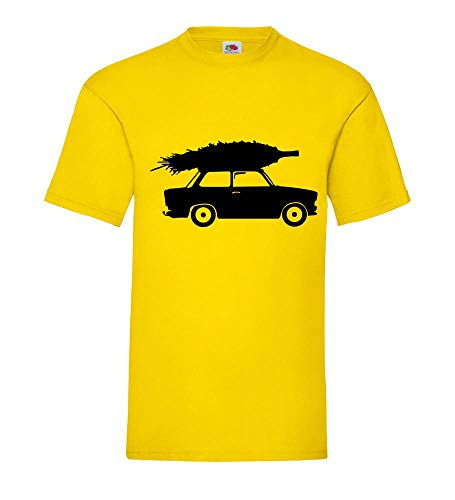 Trabant mit Weihnachtsbaum Männer T-Shirt Gelb S - shirt84.de