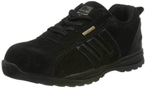 Groundwork Sportliche Sicherheitsschuhe/Schnürschuhe für Damen, leichtes Leder, Stahlkappe, schwarz - schwarz - Größe: 37.5