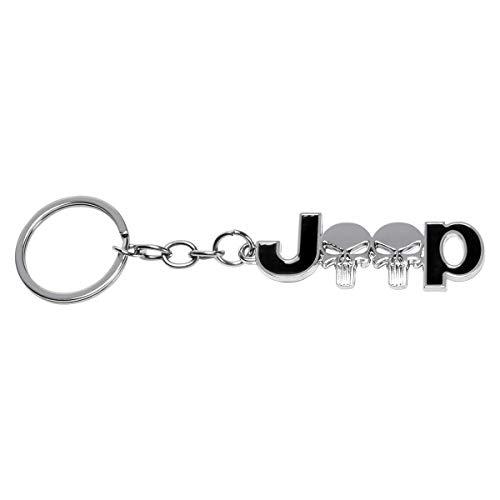 MLING Autoschlüssel Ring Schlüsselanhänger Schlüsselringe Kompatibel für Wrangler Renegade Compass Grand Cherokee Rubicon Patriot (Silber+schwarz)