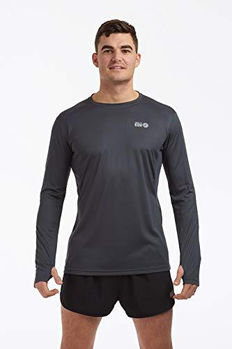 Time To Run Pace Spirit Quick Dry T-Shirt de Course à Pied/Courir/Gym/Exercice pour Hommes à Manches Longues Grande Gris Charbon/Gris Charbon