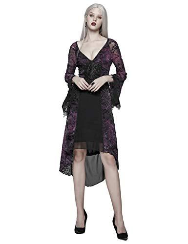 Punk Rave Gothic Beflockung mittellang Ballkleid viktorianisch tiefer V-Göttin Tüll Abendkleid Slinky Kleid Violett XS-S