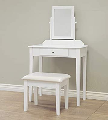 three piece white vanity table for makeup