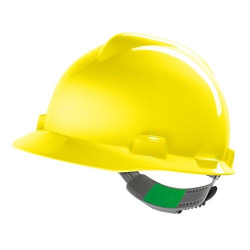 MSA V-Gard Arbeitshelm EN397 mit Schieberegelung PushKey - Bauarbeiterhelm Schutzhelm Baustellenhelm Elektrikerhelm, Farbe: gelb