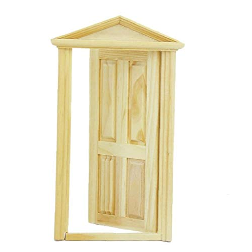 Berrywho Mini Toys Hose Door Kids DIY Decor Exterior Solid Wood Door with Steepletop for Kids Adults Yellow