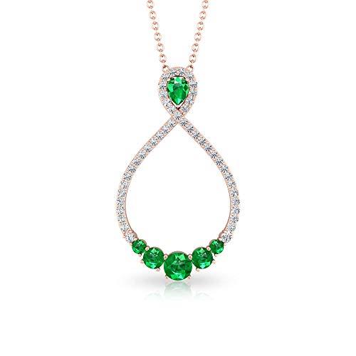 0,62 ct esmeralda IGI certificado diamante cúmulo infinito colgante, en forma de pera verde de mayo, aniversario de piedra natal, colgante de piedra preciosa antigua,10K Oro rosa Sin cadena