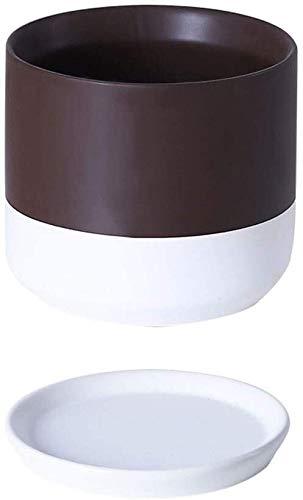 Maceta de cerámica para el hogar, grande, extragrande, con bandeja, rosa, verde, rábano, para interior, color marrón, tamaño pequeño, cerámica simple, C, 18*17CM