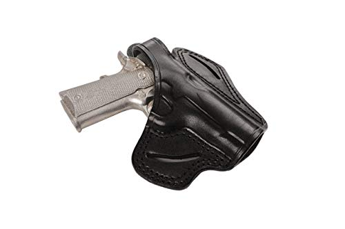 Pusat Holster Leather OWB Holster 3.63 inch for Browning 1911 380 ACP Right Hand Draw Black-Brown Colors (Black)