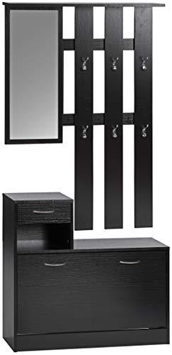 ts-ideen Parete attrezzata da Ingresso stile moderno Panchetta Portascarpe ad anta basculante con vano porta accessori, Specchio e Appendiabiti. Nero