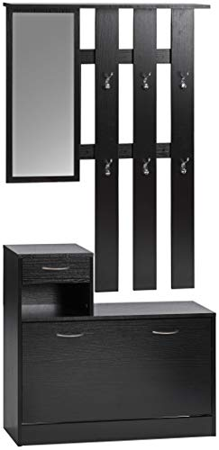ts-ideen Set wandkapstok spiegel schoenenrek schoenenkast met lade hout zwart