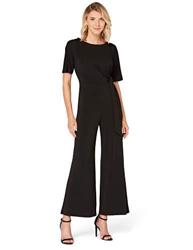 Amazon-Marke: TRUTH & FABLE Damen Kurzärmeliger Abend-Jumpsuit aus Jersey, Mehrfarbig (Schwarz), 46, Label:3XL