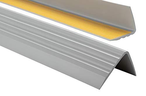 ProfiPVC Perfil de PVC autoadhesivo de borde para escaleras 50mm x 40mm en Forma de L, Tiras antideslizantes para peldaños, Esquina para cantos - Cantonera Protector, 130cm, Gris