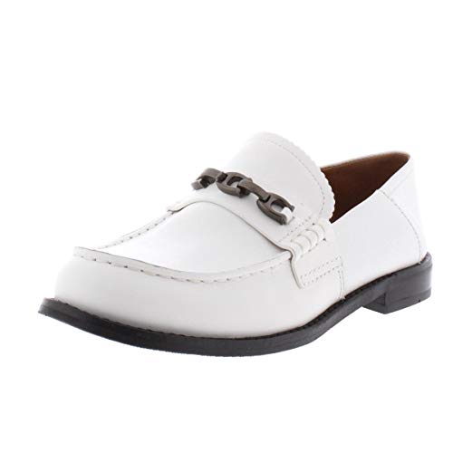 COACH Putnam Loafer with Signature Chain White Leather 9