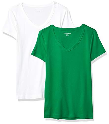 Amazon Essentials Damen fashion-t-shirts 2-pack Slim-fit Short-sleeve V-neck T-shirt, grün/weiß, Medium (38-40)