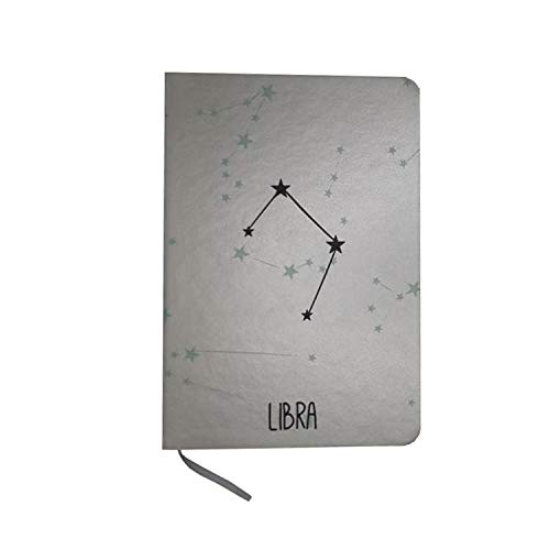 Fun Fan Line - Blocco note in argento segno zodiacale. Copertura rigida ed elastica con segnalibro incorporato in tessuto. 80 fogli in colore naturale. Design oroscopo. (Bilancia)